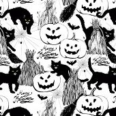 halloween seamless black and white background