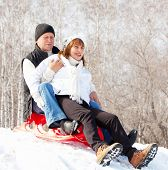 Mature couple sledding. Seniors couple on sled in winter park