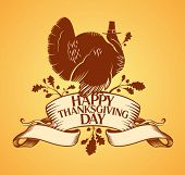 Thanksgiving day design with turkey and ribbon.