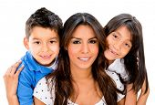 Happy mother with her two children - isolated over a white background