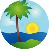 Summer Palm Island Vector Scene