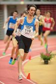 LINZ, AUSTRIA - JANUARY 31 Tomaz Rozmaric (#119 Slovenia) places 14th in men's 800m event on January