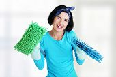 Happy cleaning woman portrait