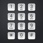 picture of keypad  - Digital dial plate of security lock or telephone keypad vector illustration - JPG