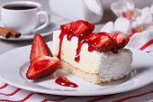 Delicate Strawberry Cheesecake And Coffee