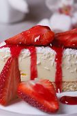Delicate Dessert Cheesecake With Fresh Strawberries