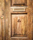 Old Wood Door With Postbox