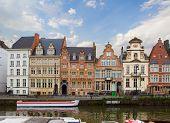 historical Graslei harbor embankment , Ghent