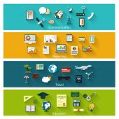stock photo of education  - Collection of modern concept icons in flat design with long shadows and trendy colors for web - JPG