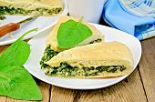 Pie Spinach And Cheese With Leaves And Knife