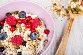 Fresh Yoghurt With Home Made Cereals And Muesli, Fresh Raspberry And Blueberry