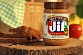 LEXINGTON, KY - MARCH 15,2014:  JIF natural peanut butter.  JIF is the leading brand of peanut butter in the US.  The JIF plant in Lexington is the largest peanut butter facility in the world.