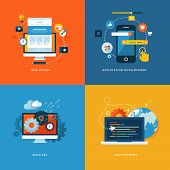 Set of flat design concept icons for web and mobile phone services and apps t-shirt