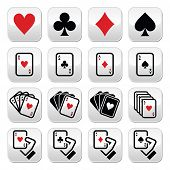 Playing cards, poker, gambling buttons set