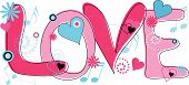 Love Text in Pink and Blue