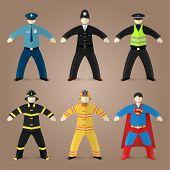 Professions set of policeman, fireman and superman