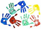 picture of dna fingerprinting  - Detail different colored hand - JPG