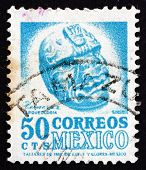 Postage Stamp Mexico 1950 Carved Head, Veracruz