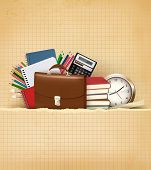 Back to school Background with school supplies and old paper. Raster version.