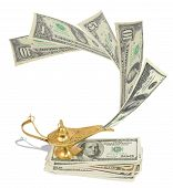 stock photo of aladdin  - Money fly out of Aladdin - JPG