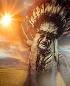 foto of indian chief  - American Indian warrior - JPG
