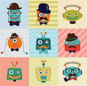 Colorful Vintage Hipster Cute Fashion Robots Background