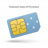 Micronesia mobile phone sim card with flag.