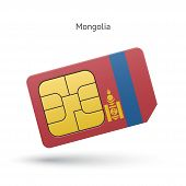 Mongolia mobile phone sim card with flag.