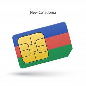 New Caledonia mobile phone sim card with flag.