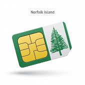 Norfolk Island mobile phone sim card with flag.