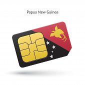 Papua New Guinea mobile phone sim card with flag.
