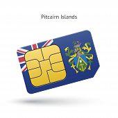 Pitcairn Islands mobile phone sim card with flag.