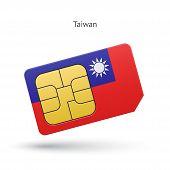 Taiwan mobile phone sim card with flag.