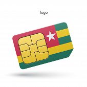 Togo mobile phone sim card with flag.