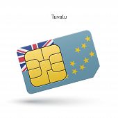 Tuvalu mobile phone sim card with flag.