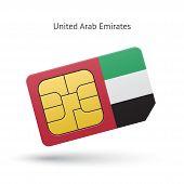 United Arab Emirates mobile phone sim card with flag.