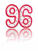 Red number 96 with reflection on a white background