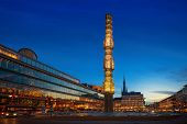 Night View Of Sergels Torg With The Glass Obelisk