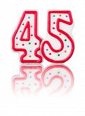 Red number 45 with reflection on a white background