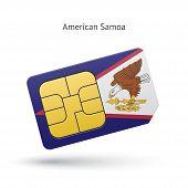 American Samoa mobile phone sim card with flag.