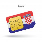 Croatia mobile phone sim card with flag.