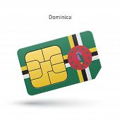 Dominica mobile phone sim card with flag.