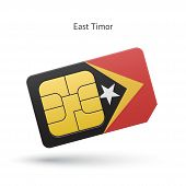 East Timor mobile phone sim card with flag.