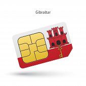 picture of gibraltar  - Gibraltar mobile phone sim card with flag - JPG