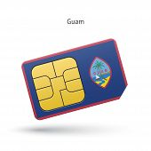 Guam mobile phone sim card with flag.