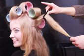Beautiful Blond Girl Hair Curlers Rollers Hairdresser Beauty Salon