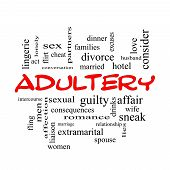 stock photo of adultery  - Adultery Word Cloud Concept in red caps with great terms such as sexual affair lies and more - JPG