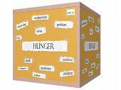 Hunger 3D Cube Corkboard Word Concept