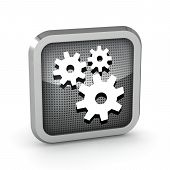 Metallic Icon With Gears On White Background
