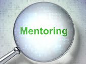 Education concept: Mentoring with optical glass